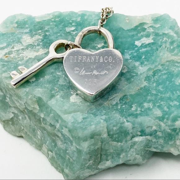 Tiffany Co Jewelry Authentic Tiffany Silver Heart Lock Key Necklace Poshmark